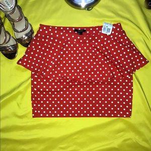 New Forver21  Red Peplum mini Skirt